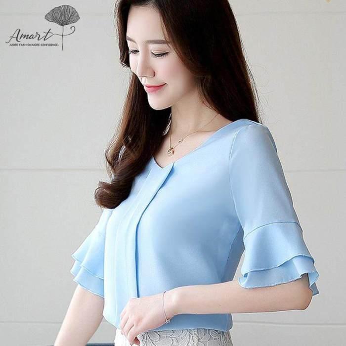 Amart Fashion Women Summer Chiffon Shirt Trumpet Sleeve V