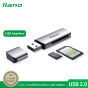 Llano Hợp Kim Nhôm USB Đa Năng Đầu Đọc Thẻ Hai Trong Một Cho SD, TF, Camera SLR, Ghi Âm Lái Xe, Đầu Đọc Thẻ Nhớ Điện Thoại Di Động