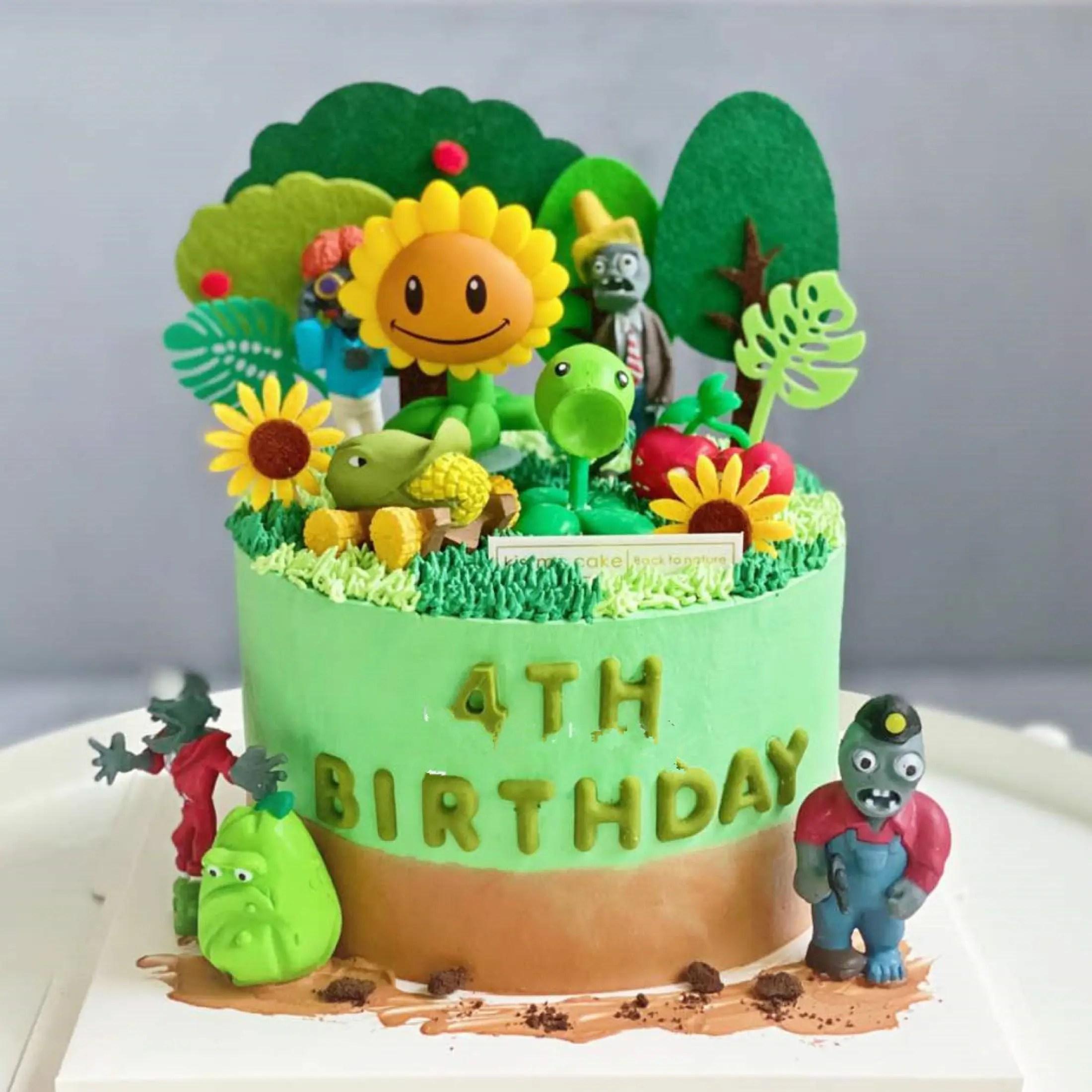 Tm 1 Set 8 Pcs Fun Plant Fight Zombie Theme Green Resin Birthday Cake Topper Creative Personality Festival Children Birthday Party Decoration Lazada Ph