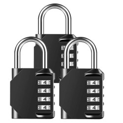 3 Pack Combination Padlock Heavy Duty Lock Waterproof 4-Digit Combination Lock for School Gym Outdoor Shed Locker