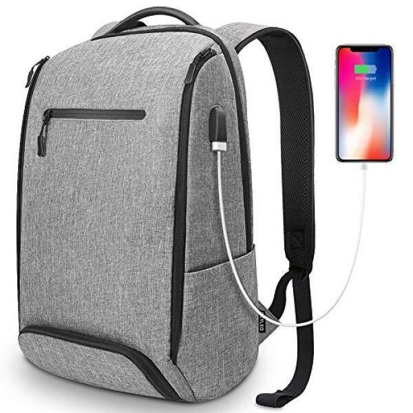 Reyleo Laptop Ransel dengan USB Pengisian Port Pria Wanita 15.6 Inch Bisnis Tas Komputer Anti-pencurian Air Tahan Sekolah buku Ramping Daypack dengan Kompartemen Sepatu untuk Perjalanan Kerja Dalam Grey-Internasional