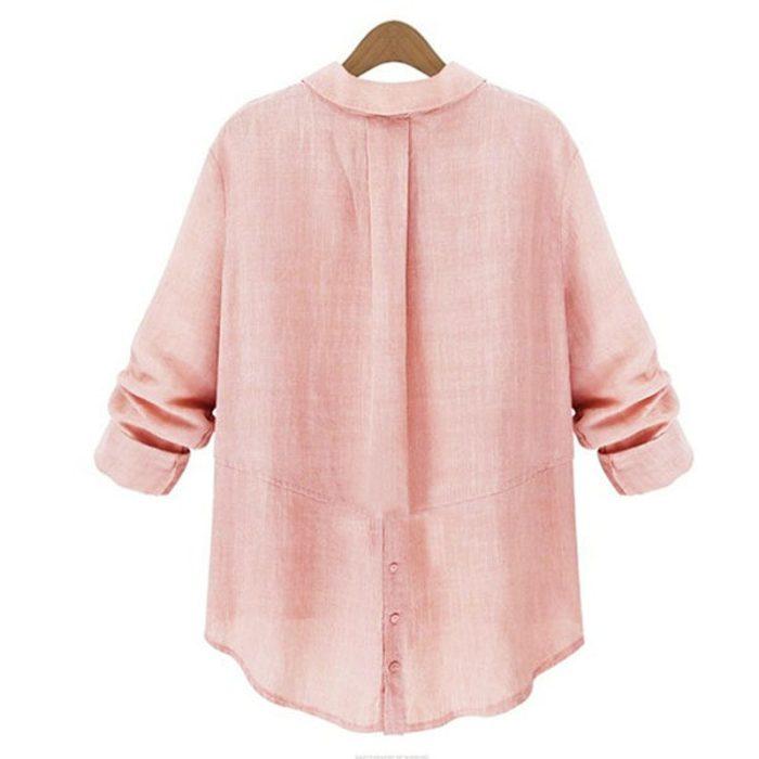 ZANZEA Womens Button Down Collar Loose Linen Shirt