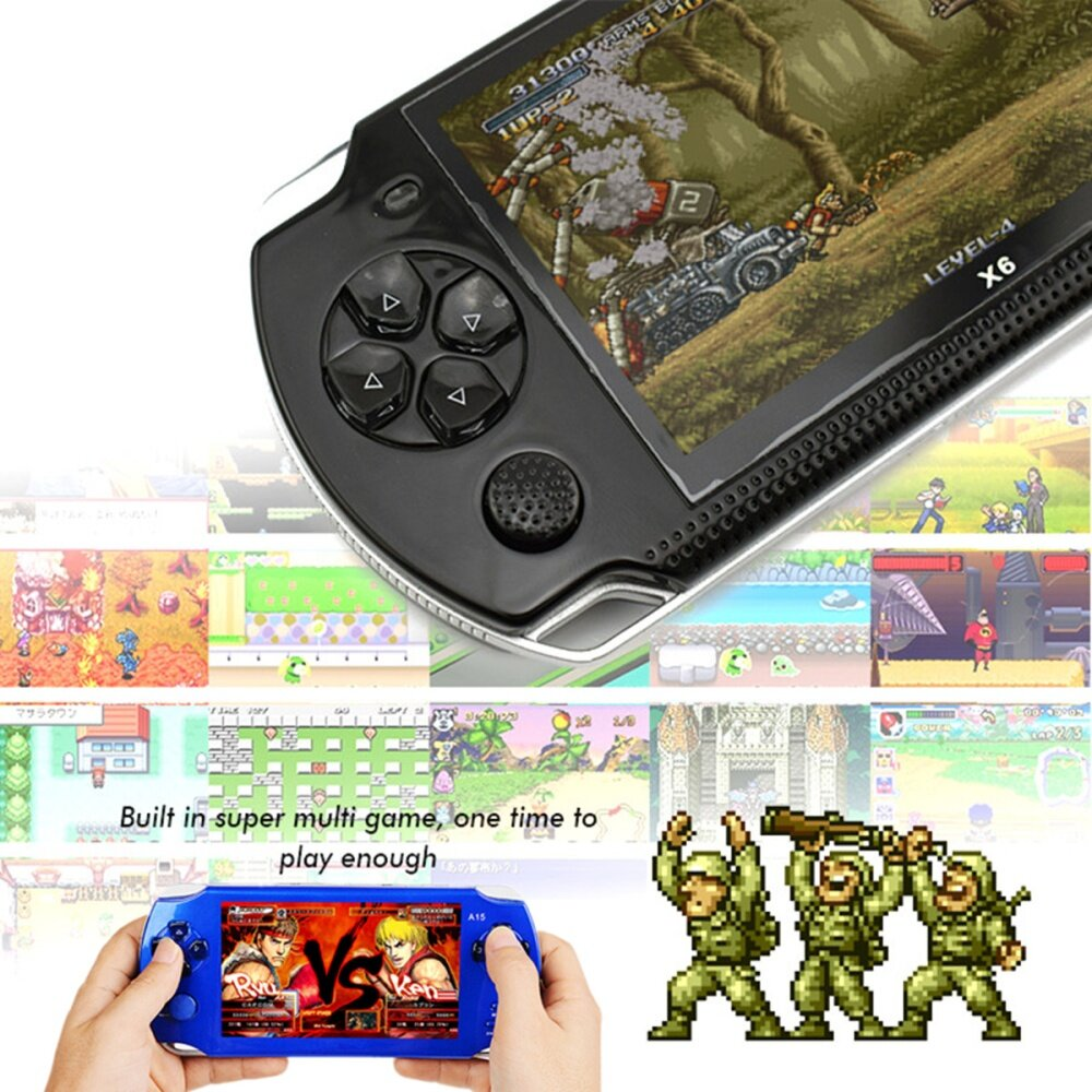 S 8367 985af434d1152da6562de18e04ce600a Universal A15 Rechargeable 5.0 8G Handheld Video Game Console MP4/MP5 Player With Camera Red