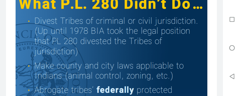 Public Law 280 Tribal and State Jurisdiction in California Indian Country.