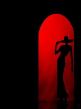 silhouette of the girl on a red background in the arch