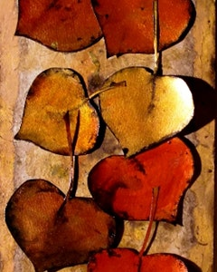 mixed_media_abstract_nature_art_painting_gold_and_red_leaves_by_carol_nelson_fine_art