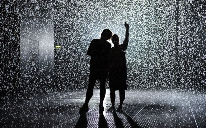 'Rain Room' by Random International, Barbican, London, Britain - 03 Oct 2012...Mandatory Credit: Photo by Tony Kyriacou / Rex Features (1894189o) 'Rain Room' 'Rain Room' by Random International, Barbican, London, Britain - 03 Oct 2012 Known for their distinctive approach to digital-based contemporary art, Random International''s experimental artworks come alive through audience interaction. Their largest and most ambitious installation yet, Rain Room is a 100 square metre field of falling water for visitors to walk through and experience how it might feel to control the rain. On entering The Curve the visitor hears the sound of water and feels moisture in the air before discovering the thousands of falling droplets that respond to their presence and movement. Rain Room opens in The Curve on 4 October 2012.