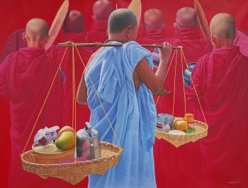 Aung-Kyaw-Htet-With-Offered-Food-2014-59x79-Oil-1-350x266