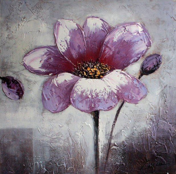 Oil-Painting-of-Purple-Flower