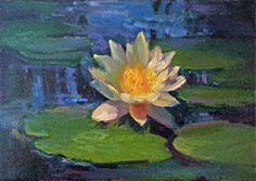 "DB# 101412 - 5"" x 7"" Oil on Utrecht Archival Canvas Panel The last of 7 water lily paintings I did in June at The Festival Theatre's garden in Stratford, Ontario."