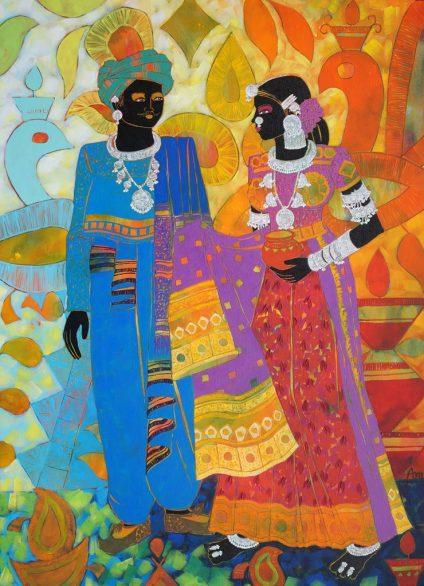 Anuradha-Thakur-Acrylic-on-canvas-Ethnic-Serendipity-157-30x40-18-AT1-740x1024