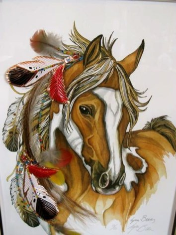 Colorful_native_americal_horse_with_feathers_tattoo_design