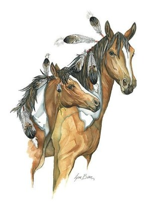 Good_colored_indian_horse_couple_tattoo_design