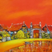 My-hometown-01-Oil-on-Canvas-painting-by-Vietnamese-Artist-Nguyen-Minh-Son