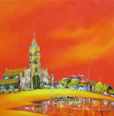 My-hometown-Oil-on-Canvas-painting-by-Vietnamese-Artist-Nguyen-Minh-Son