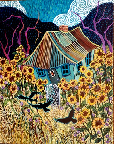 Sally-Bartos-Fine-Art-Crows-in-the-Sunflowers-Years-East-Mountain-Shopper-Artist-Spotlight-February-2020