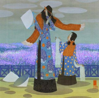 Winter-Water-color-on-silk-painting-by-Vietnamese-Artist-Vu-Tuan