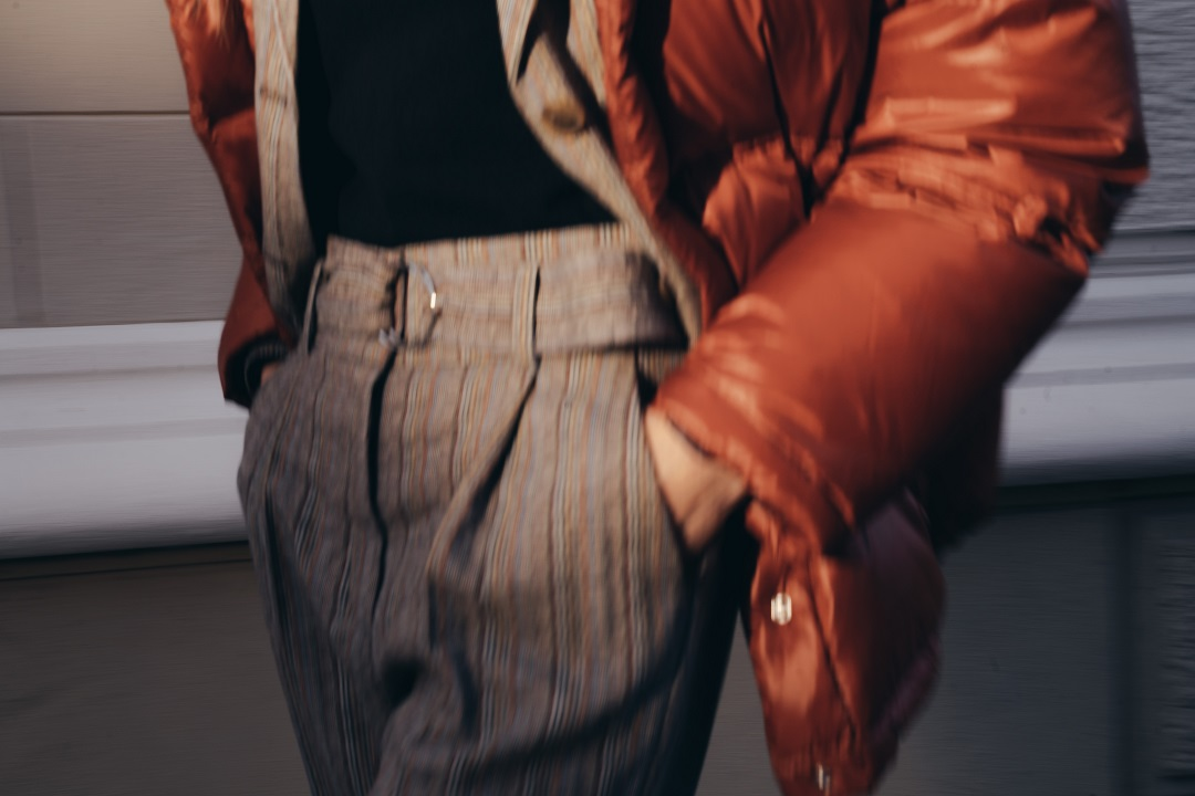 Paperbag pants and quilted jacket for this winter