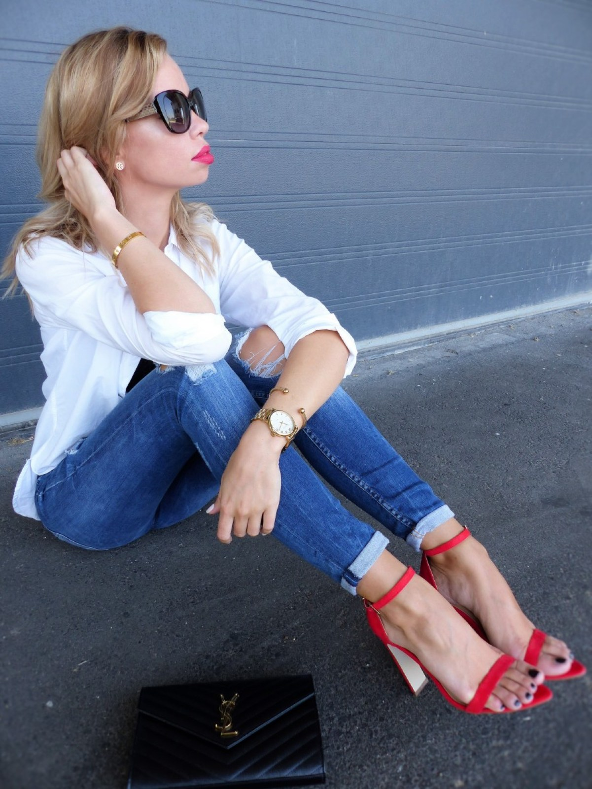 Classy Outfit, Red Heels, white shirt, denim