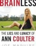 book jacket featuring Coulter in a sexy pose with emaciated body of long legs and blond hair of Ann Coulter sitting, legs extended on some grass