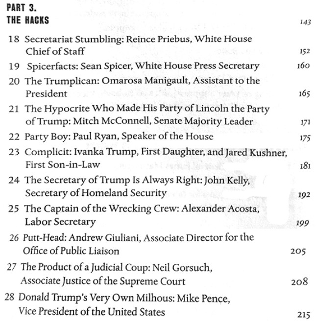 Part 3 The Hacks from Table of Contents of book on Trump's deplorables