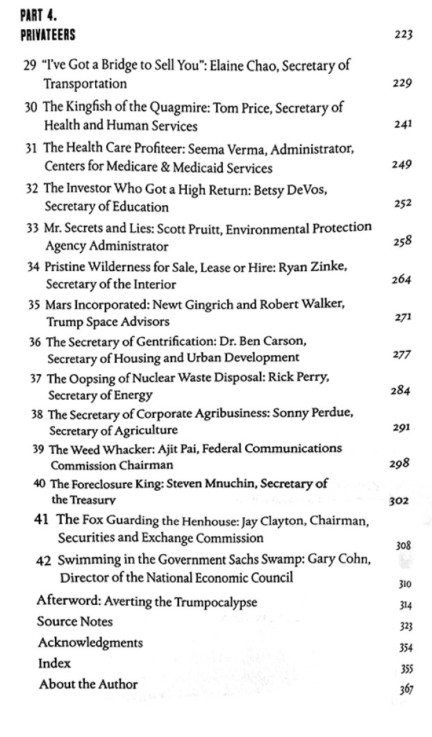 Part 4 of Table of Contents from book on Trump and deplorables around him