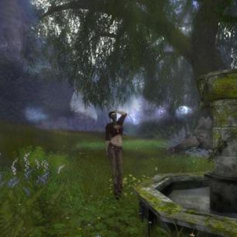 Screenshot of fountain in Queensgarden