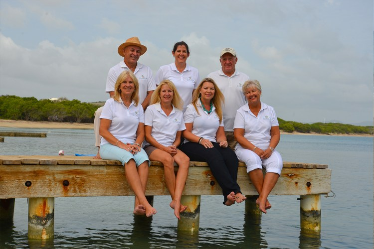 Team on dock