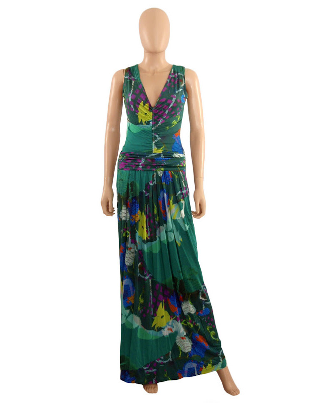 08-31 Etro Green Print Maxi Dress (1)
