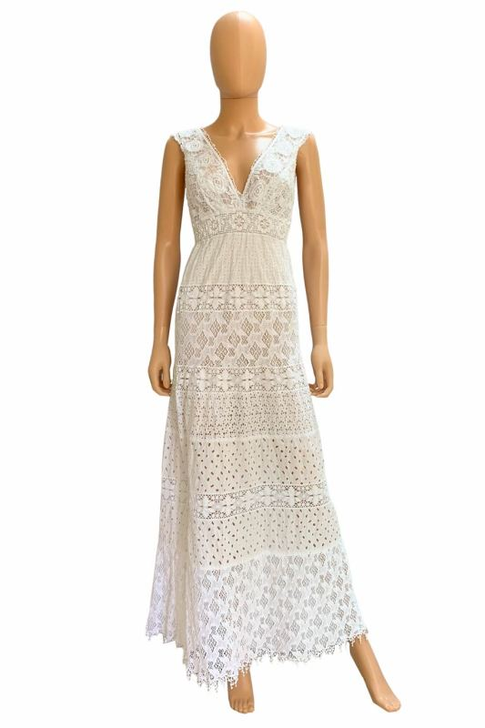08-27 Temptation Positano White Crochet Lace Sleeveless V-Neck Maxi Dress Size S NWT (1)