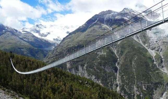 Самый длинный подвесной мост. Швейцария