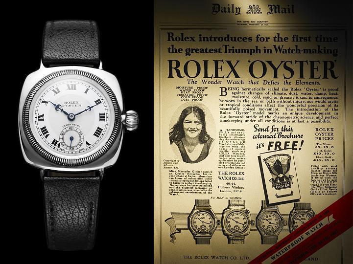 Первая водонепроницаемая модель Rolex Oyster