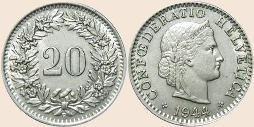 Монета в 20 швейцарских раппенов