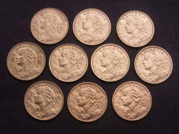Швейцарские золотые монеты Голдвренели