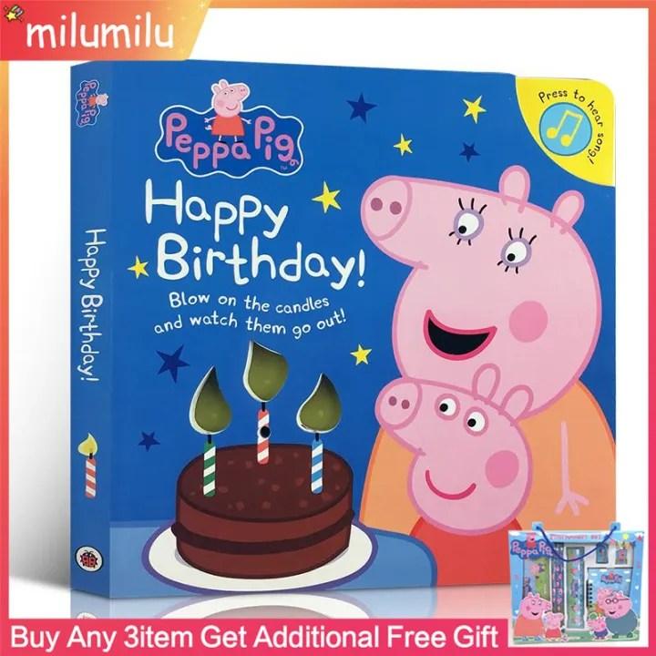 Original Children Popular Books Peppa Pig Happy Birthday Pronunciation Book Board Book Colouring English Activity Story Book For Kids Lazada