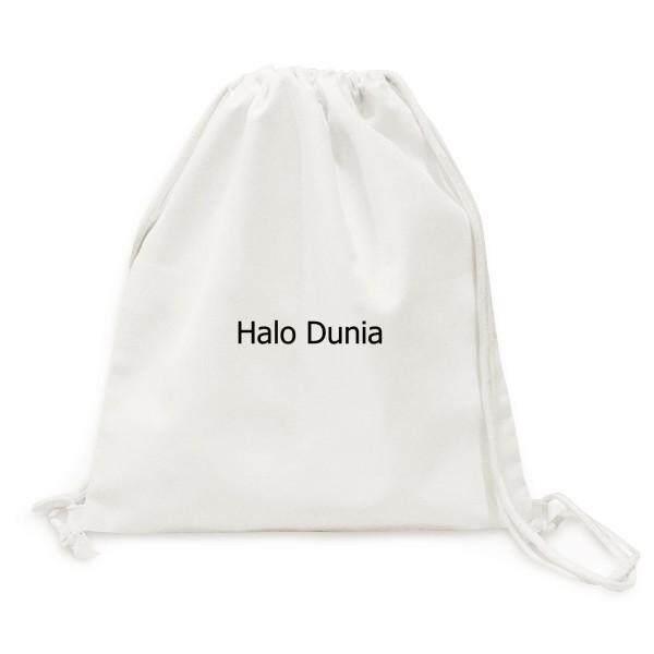 Hello World Indonesia Canvas Drawstring Backpack Shopping Travel Lightweight Basic Bag Gift - intl