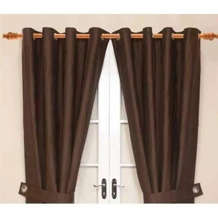 5 feet 11 inch mahogany wood curtain rod set with ring and single bracket