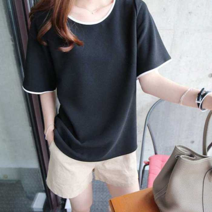 Women Plain Solid Short Sleeve T-Shirts Ladies Casual Work