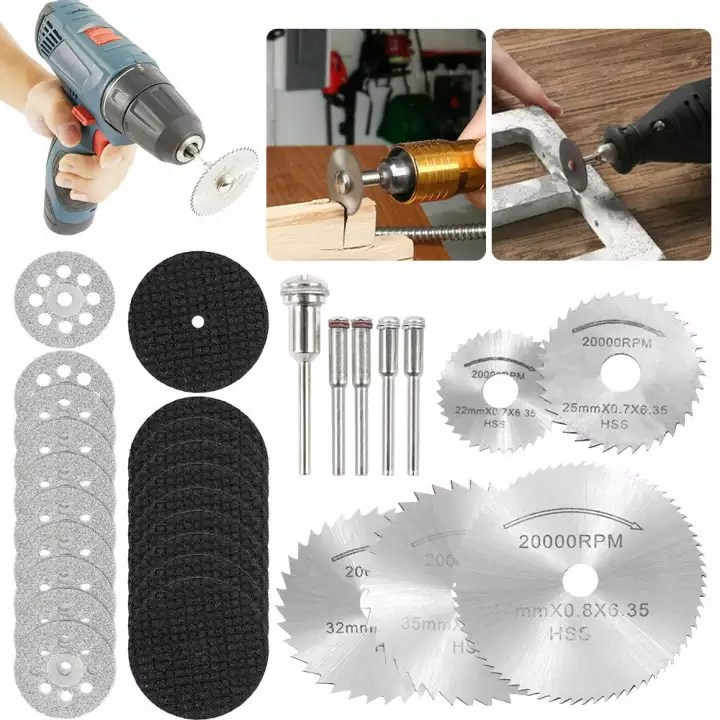30pcs diamond cutting wheel saw cutters cut off discs set for rotary tool for wood plastic tiles grinding dremel rotary tool