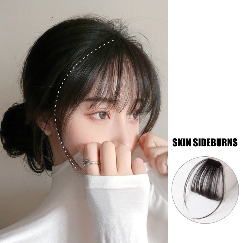 ready stock curtain bangs korean girls thin air bangs wig for women hair extension natural clip in front fringe hair extension