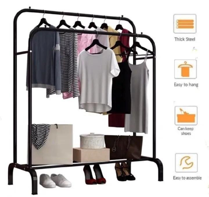 ready stock single double pole hanger laundry rack cloth hanger organizer 110cm ikea mulig clothes rack