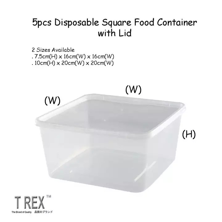 5pcs microwave safe disposable plastic square food container with lid take away food container with lid 2 sizes