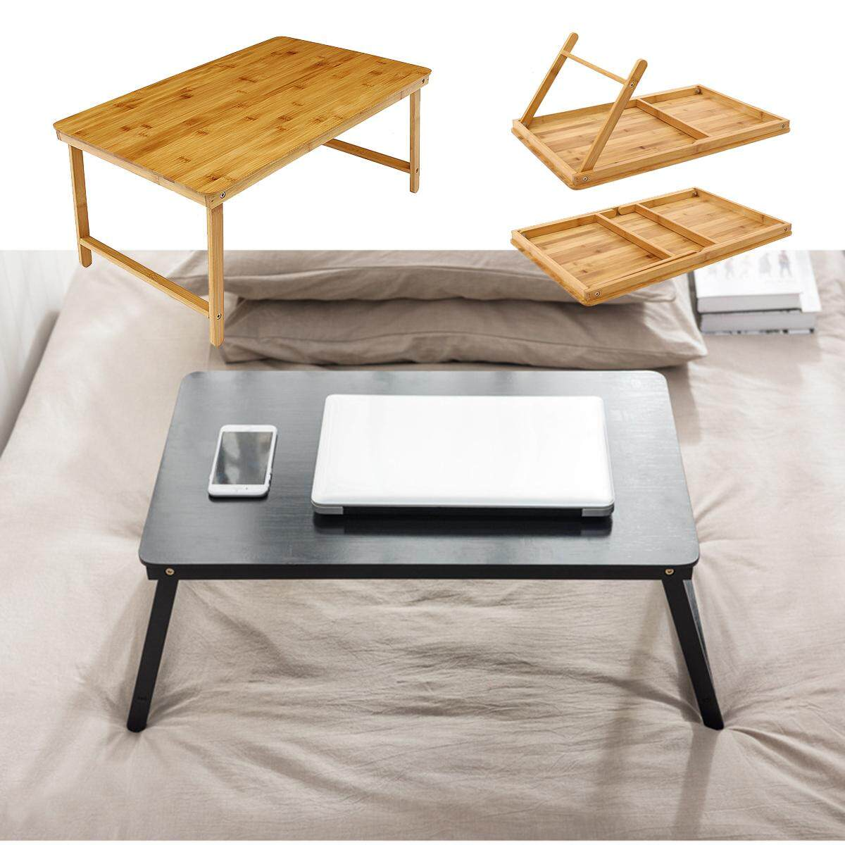 Portable Folding Lap Desk Bamboo Laptop Coffee Tea Tray Natural Bed Table Stand