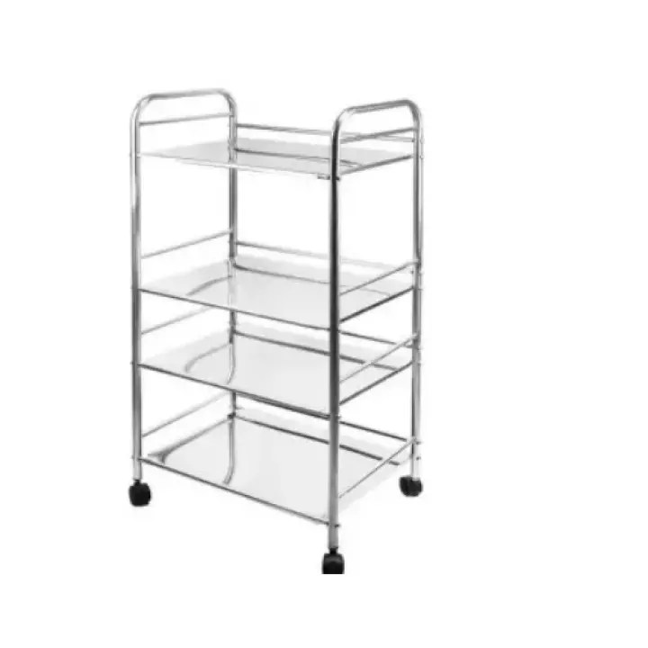 4 tier stainless multipurpose trolley with roller stainless steel kitchen cart microwave stand bathroom garage storage shelves 60cm