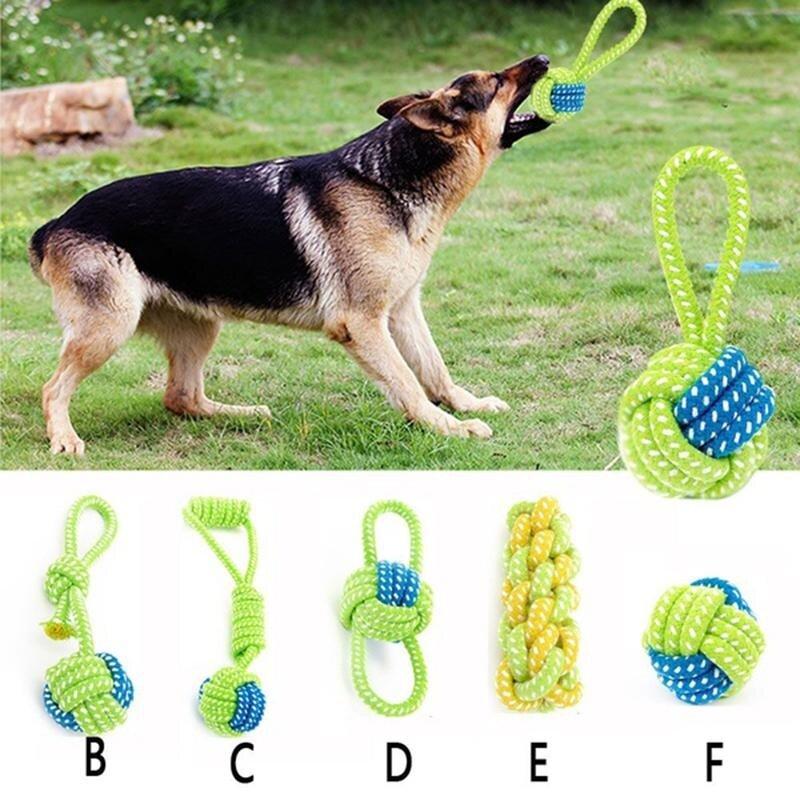 5 Pcs Mainan Anjing Kunyahan Anjing Simpul Tali Katun Bola Gelinding Gigi Odontoprisis Mainan Hewan Peliharaan # F-Intl