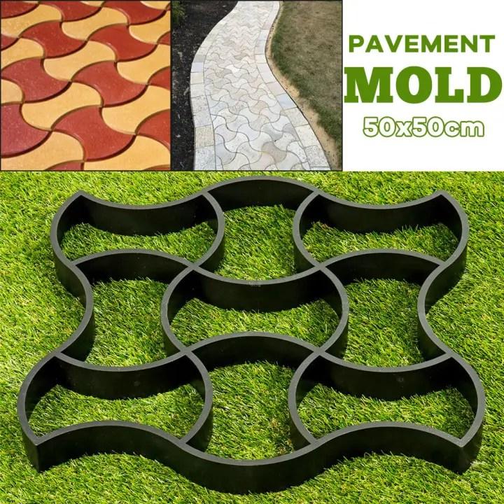 50x50cm diy reusable paving pavement mold patio walk concrete stone path floor maker garden lawn cement black