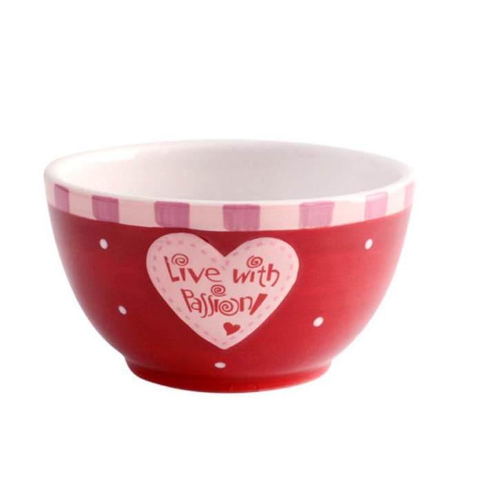 Tangan Keramik Dicat Set Peralatan Makan Pink Cangkir Cantik Mangkuk Nasi Piring Steak