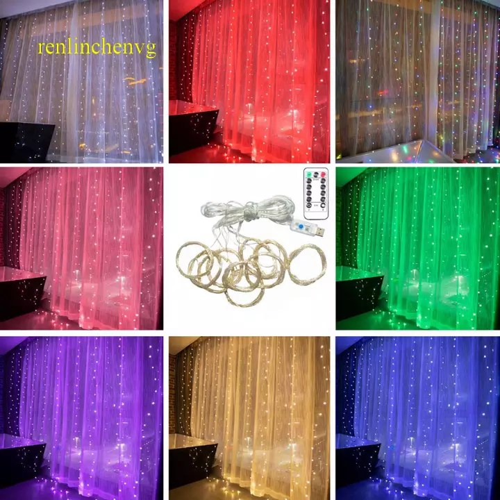 8 modes 300 led window curtain lights usb waterproof fairy string lights decorative xmas twinkle lights for bedroom wedding backdrop party wall