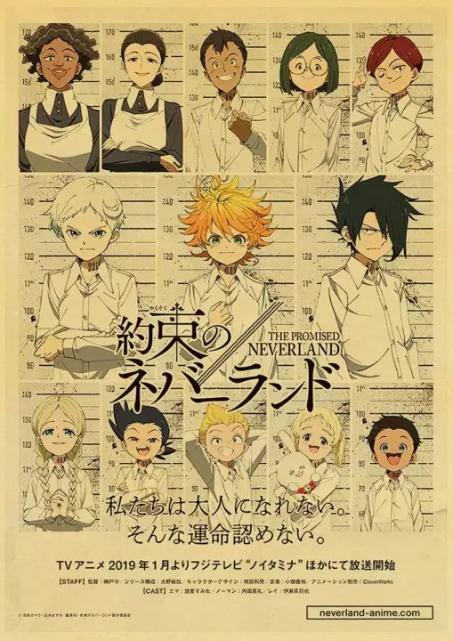 vintage posters anime cartoon the promised neverland poster prints wall painting good quality poster home bar decoration