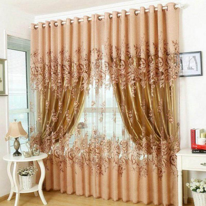 new arrival european peony pattern voile curtains tulle sheer valances home decor